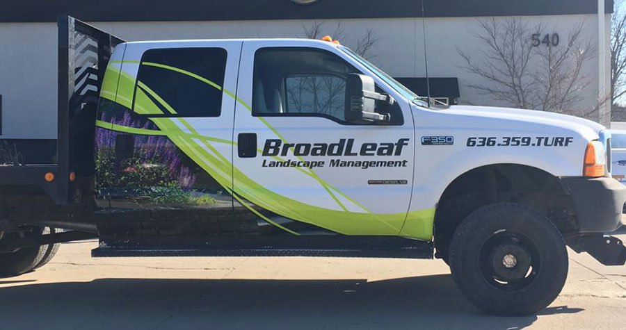 Partial F-350 Vehicle Wrap for Broadleaf Landscape Management